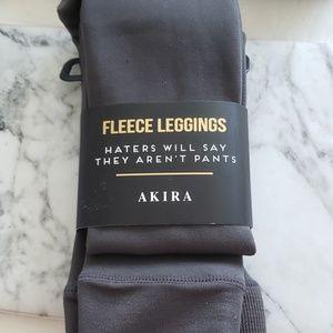 Akira Fleece Leggings - Charcoal (one size)